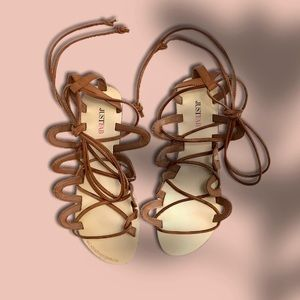 JUSTFAB   Septima Gladiator Sandal Cognac Size 9